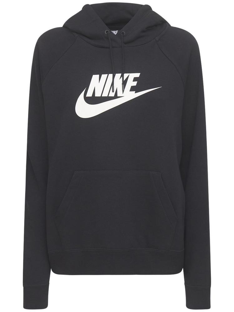 NIKE Logo Cotton Blend Fleece Hoodie in black