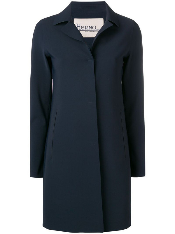 Herno concealed front coat in blue