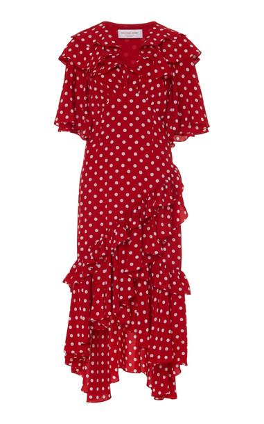 Michael Kors Collection Ruffled Dot Crepe De Chine Dress Size: 2 in red