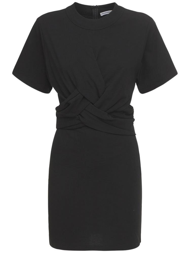 ALEXANDER WANG High Twist Jersey T-shirt Mini Dress in black