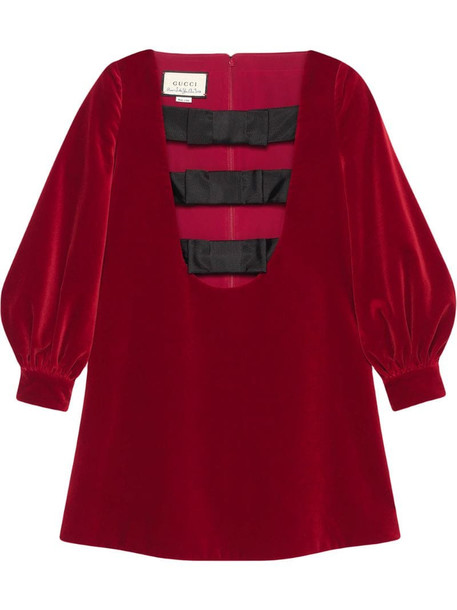 Gucci bow detail mini dress in red
