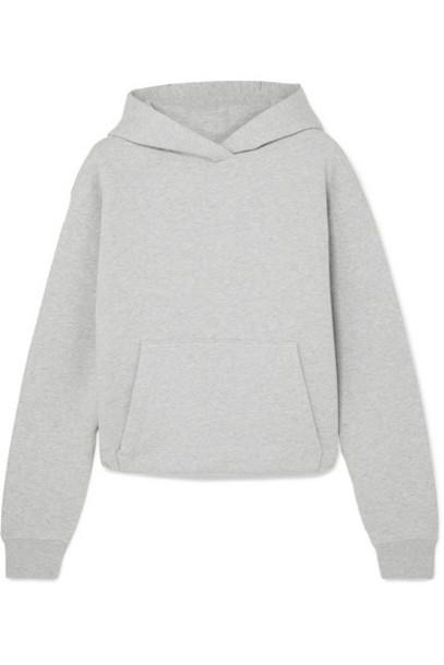 alexanderwang.t - Cropped Cotton-terry Hoodie - Light gray