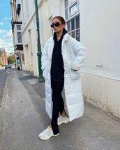 coat,white coat,puffer jacket,sneakers,black pants,hoodie