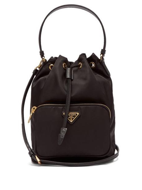 Prada - Nylon And Leather Bucket Bag - Womens - Black