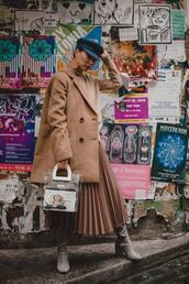 different cands,blogger,sweater,jacket,skirt,hat,shoes,jewels,spring outfits,pleated skirt,fisherman cap,transparent  bag,suede boots