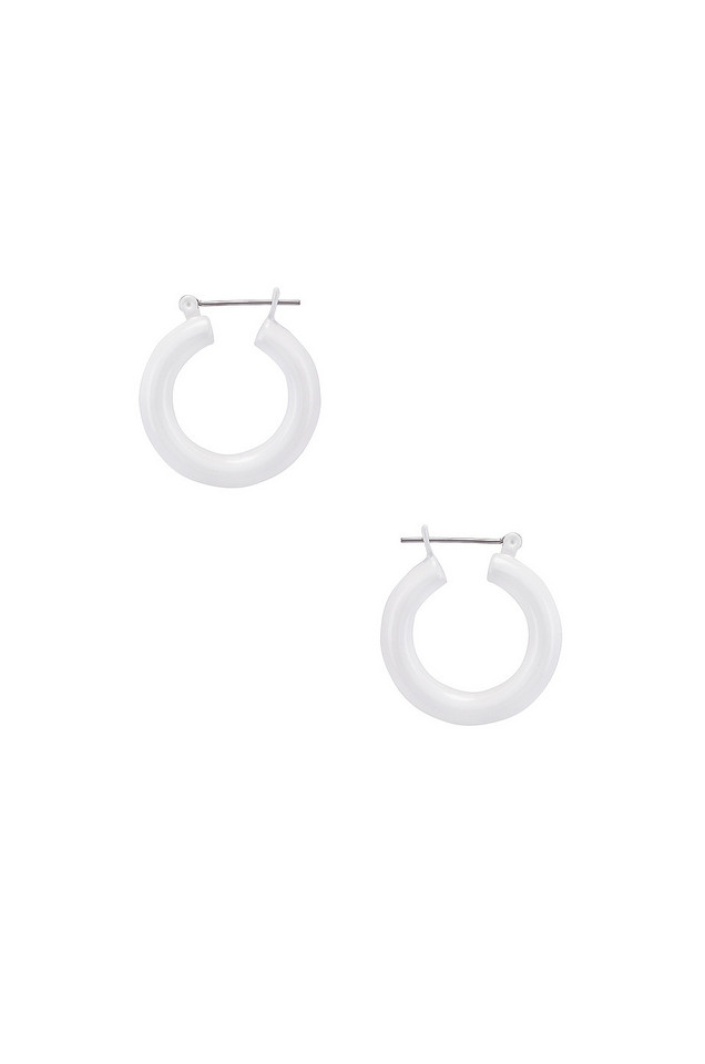 Luv AJ Rainbow Baby Amalfi Hoop Earrings in white