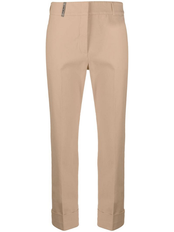 Peserico cropped straight leg trousers in brown