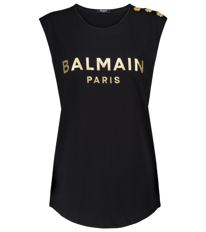 Balmain Logo cotton tank top in black