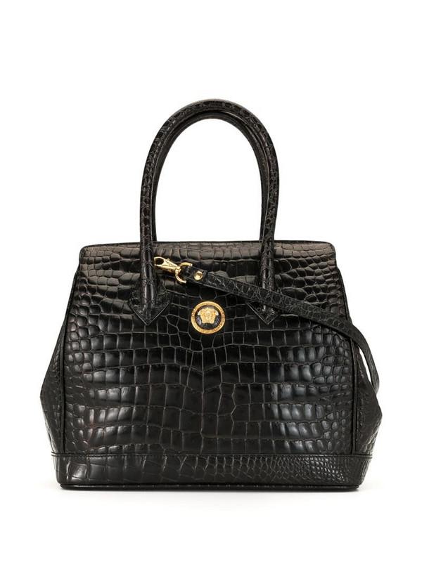 Versace Pre-Owned crocodile-embossed tote in black