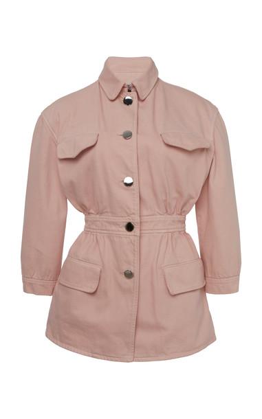 Prada Gathered Cotton Jacket in pink