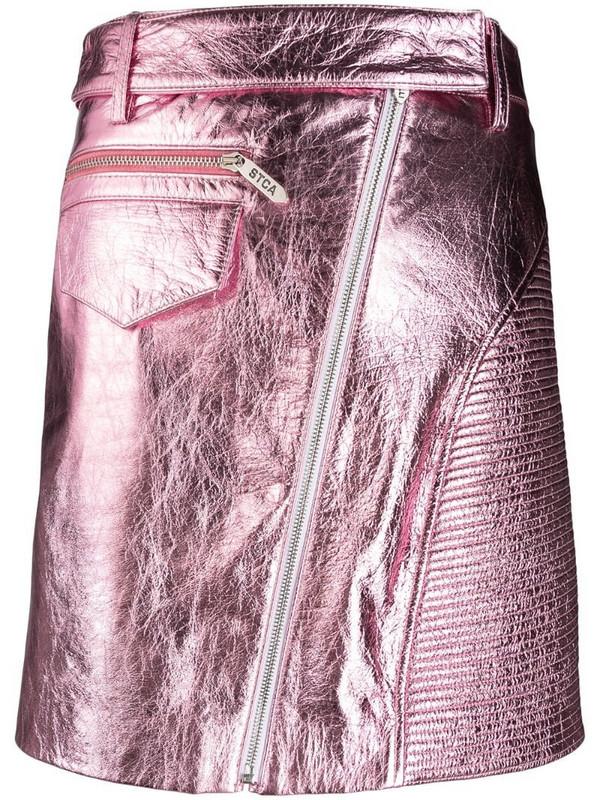 Just Cavalli metallic leather mini-skirt in pink