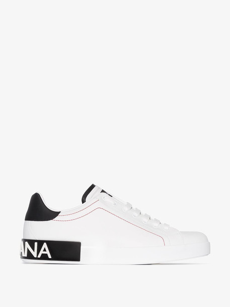 Dolce & Gabbana white portofino leather low top sneakers