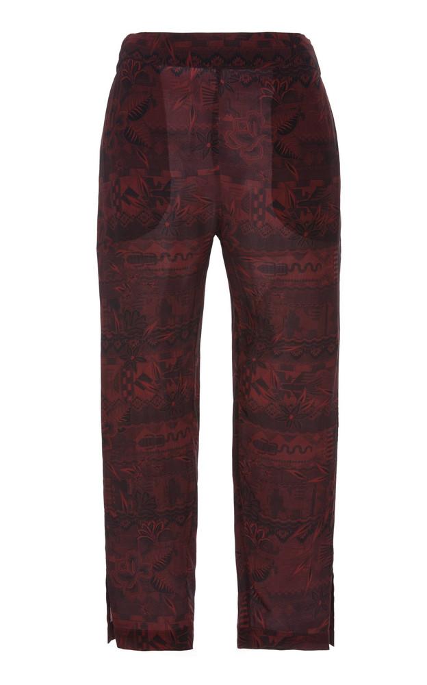 Chufy Qoya Cropped Broadcloth Straight-Leg Pants in burgundy
