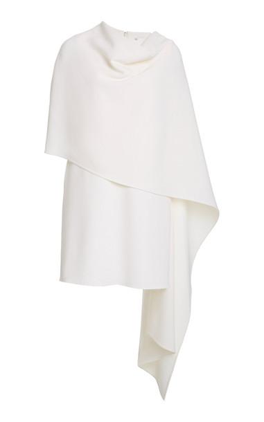 Oscar de la Renta Crepe De Chine Caped Dress in white