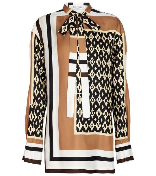 Valentino Printed silk blouse in black