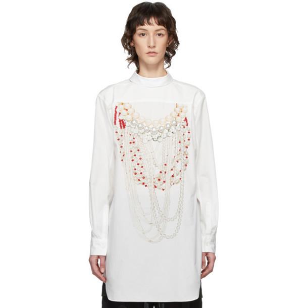Comme des Garcons Homme Plus White Pearl Print Shirt Dress