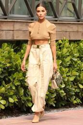 top,beige,pants,crop tops,cropped,olivia culpo,celebrity,pumps,spring outfits
