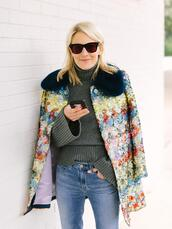 luella & june,blogger,jacket,sweater,jeans,sequin jacket,green sweater,winter outfits
