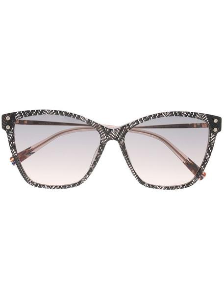 MISSONI EYEWEAR lace-print square-frame sunglasses in black