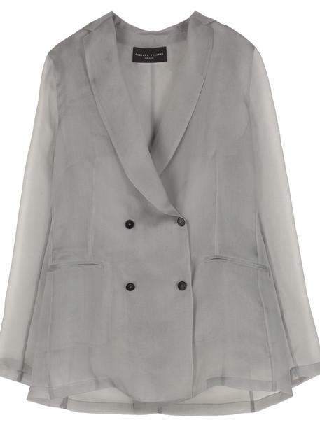 Fabiana Filippi Double-breasted Organza Jacket in grey