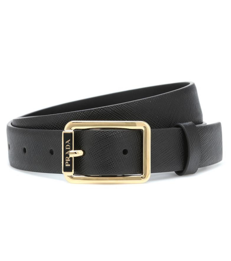 Prada Logo leather belt in black