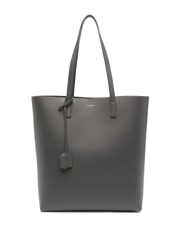 Saint Laurent logo-print leather tote bag in grey