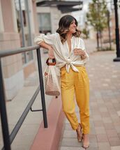 pants,yellow pants,sandal heels,high waisted pants,white blouse,tote bag