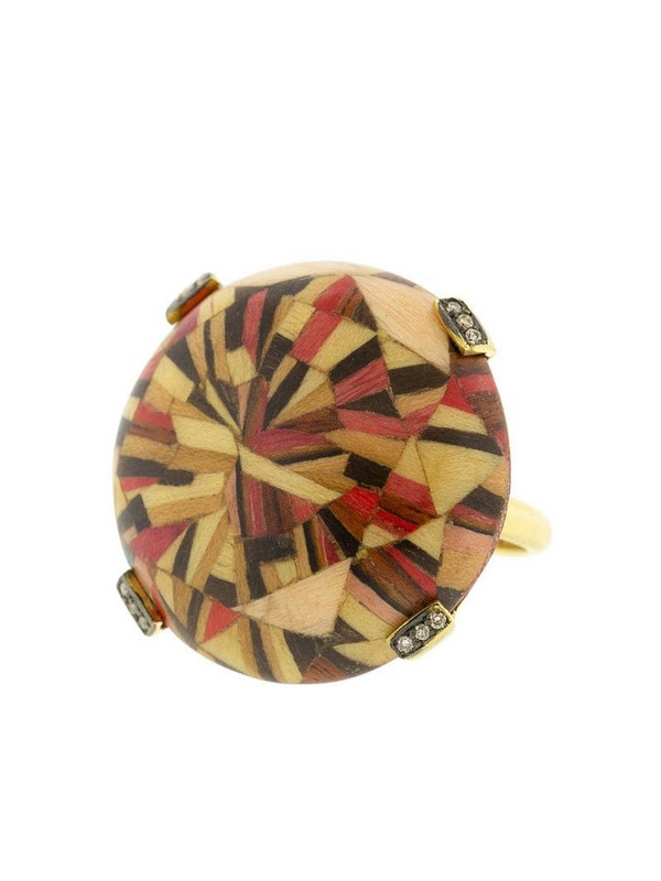 SILVIA FURMANOVICH 18kt yellow gold diamond Marquerty ring in brown