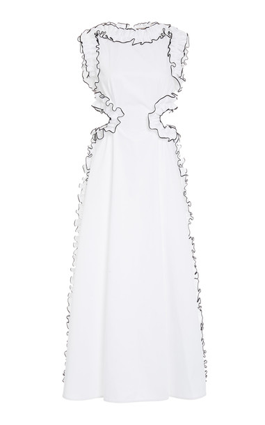 Christopher Kane Cotton Frill Cut Out Dress in white
