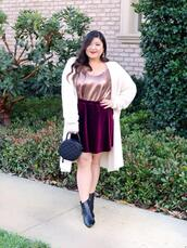 blogger,curvy girl chic - plus size fashion and style blog,cardigan,tank top,skirt,shoes,bag,ankle boots,round bag,velvet skirt,white cardigan