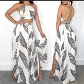 dress,white,two-piece,leaf print,strappy