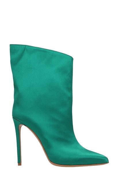 Alexandre Vauthier Alex Low Green Satin Boots
