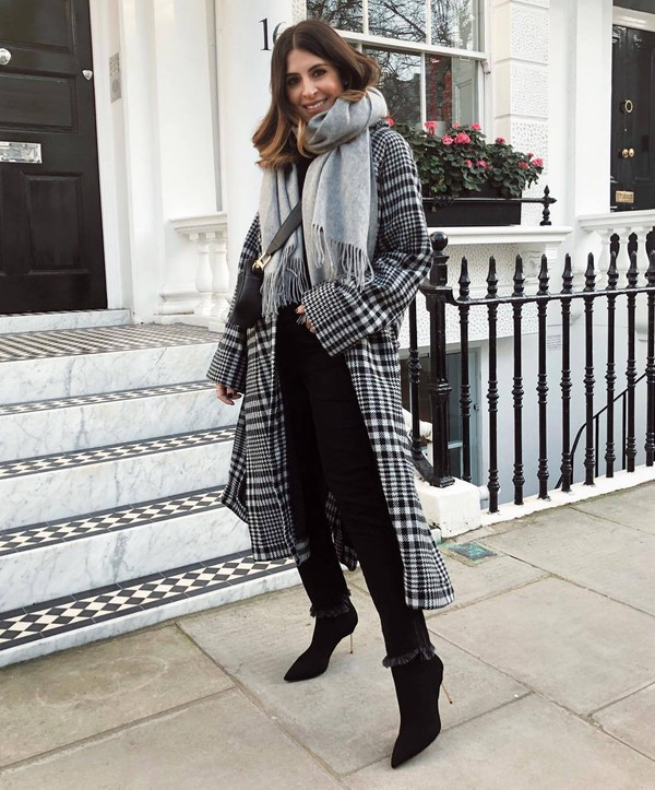 coat long coat plaid black boots heel boots cropped jeans black jeans scarf black bag crossbody bag black sweater shoes