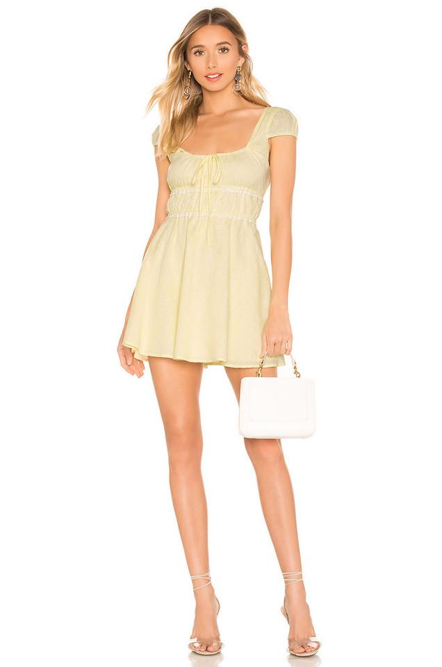 MAJORELLE Alexis Mini Dress in yellow