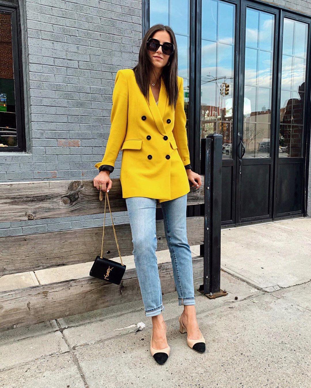 jacket blazer double breasted slingbacks ysl bag black bag skinny jeans