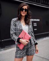 jacket,plaid blazer,grey blazer,plaid shorts,High waisted shorts,pink bag,white blouse