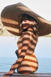 swimwear,kristin cavallari,celebrity,instagram,one piece swimsuit,orange,orange swimwear,oversized hat,straw hat