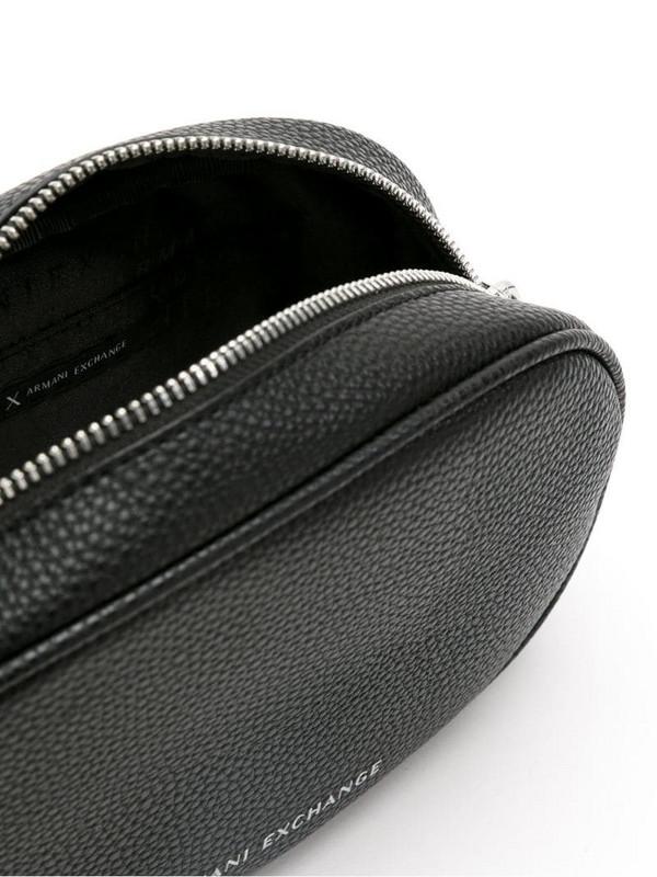 Armani Exchange oval belt bag in black