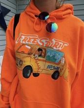 top,hoodie,orange,free spirit