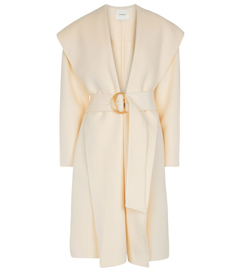 Vince Hooded wool and cashmere coat in white