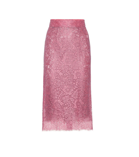 Dolce & Gabbana High-rise lace pencil skirt in pink
