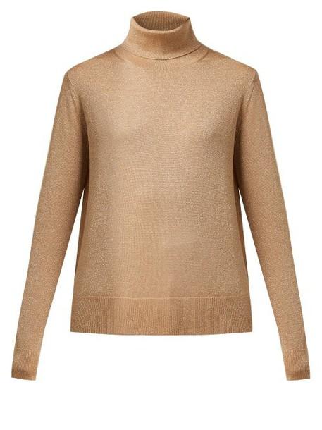 Joseph - Roll Neck Metallic Wool Blend Sweater - Womens - Gold