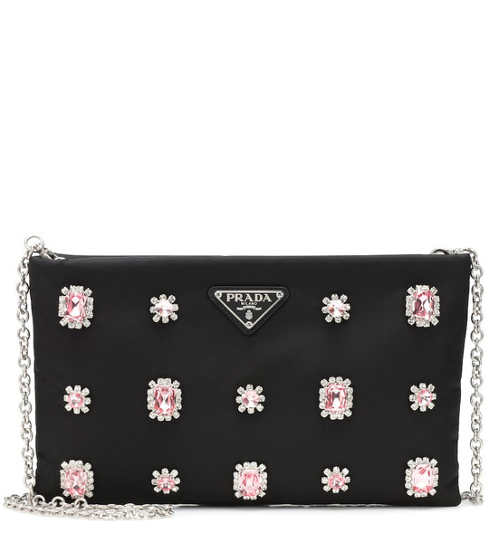 Prada Embellished nylon shoulder bag in black