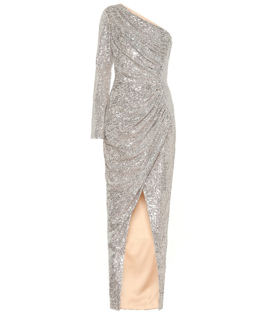 RASARIO One-shoulder sequined gown in silver