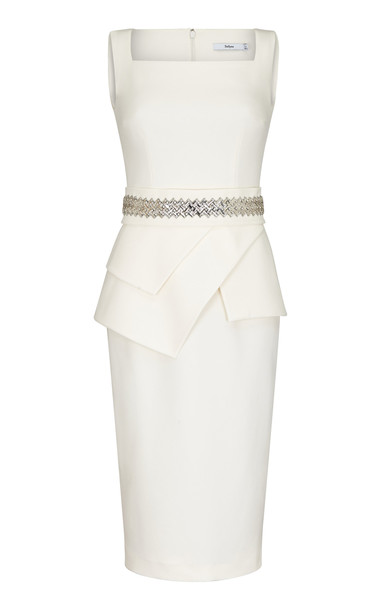 Safiyaa Donna Crystal Embellished Heavy Crepe Dress in white