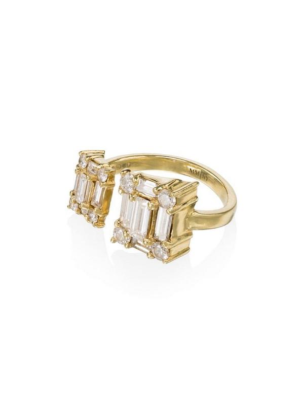 Mindi Mond 18kt yellow gold clarity open dual cube ring in metallic