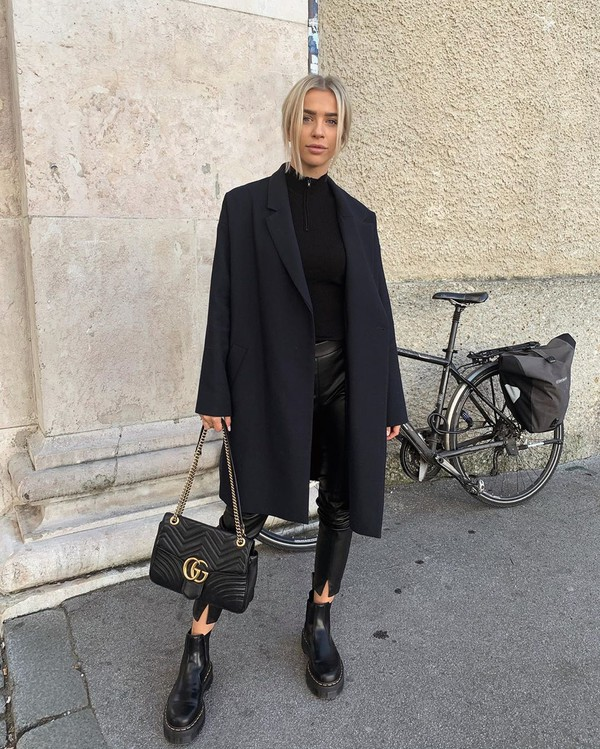 pants black leather pants black boots ankle boots black bag gucci bag black coat black sweater platform boots black top black  coat