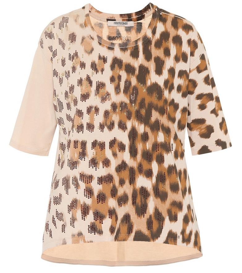 Roberto Cavalli Embellished leopard cotton T-shirt in beige