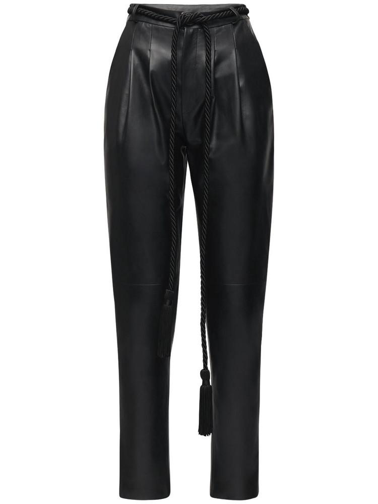 BLANCHA High Waist Leather Pants in black