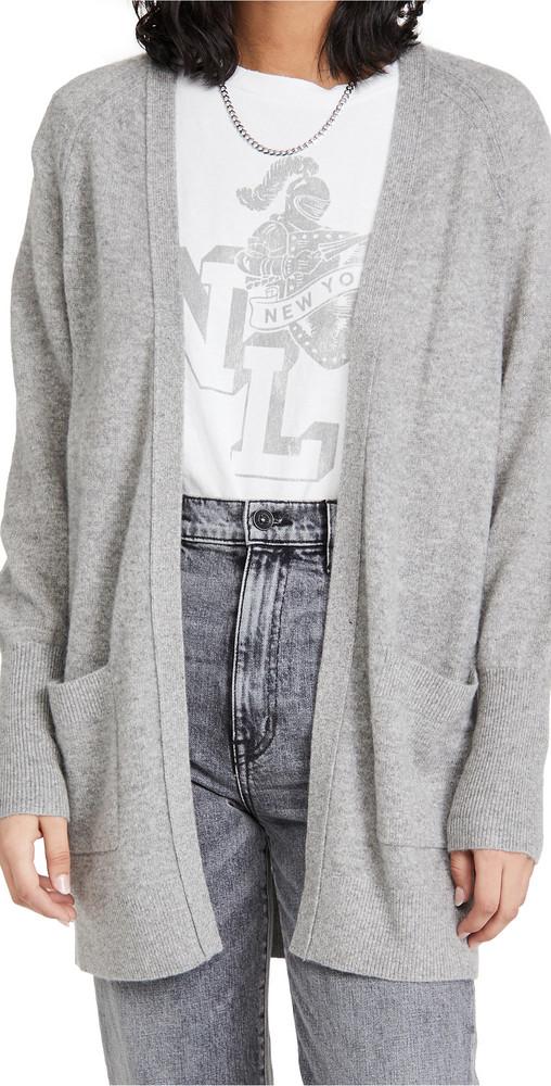 White + Warren White + Warren Cashmere Patch Pocket Open Cardigan in grey